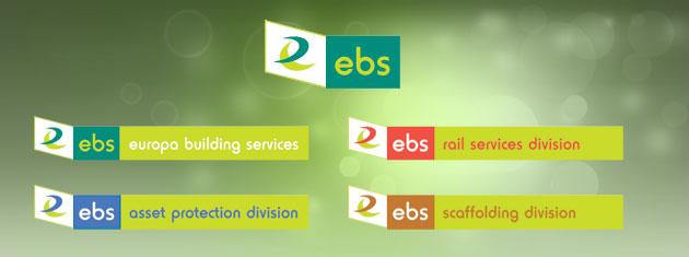 A main symbol /logo plus four sub-division logos for Europa Building Services