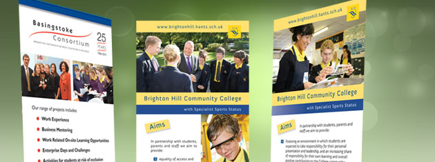 3 pop-up roller banners for a local secondary College and The Basingstoke Consortium